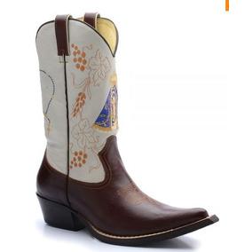 Bota Texana Bico Fino Country Masculina Couro Nossa Senhora 3be95491ce9