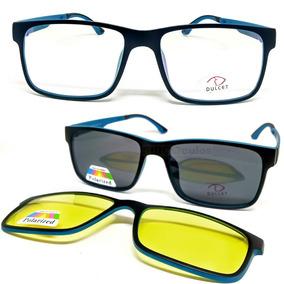 Armação De Óculos P/ Grau Sol E Noite Completo Clip On 3 Em1