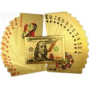Baralho Cor Ouro 24k Folheado Poker Truco Prova D' Água Gold
