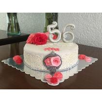 Pastel Decorado Con Fondant, Rosas, Cumpleaños, Boda, Xvaños