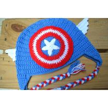 Gorro Capitán America, Súper Man Batman Etc Tejida A Crochet
