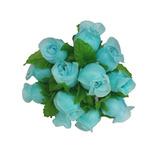144 Mini Rosinhas Cetim Azul Tiffany Flores Artificiais