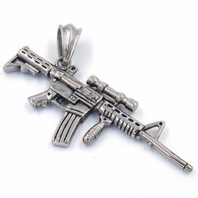 Dije De Acero Fusil Ak-47 Cuerno De Chivo Rifle