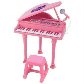 Piano Teclado Infantil + Microfone + Banquinho +inmetro Rs