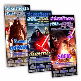 100 Invitaciones Impresas Urgentes Star Wars ¡envio Gratis!