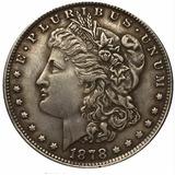 Dólar Morgan 1878 Baño De Plata Acabado Antiguo Replica