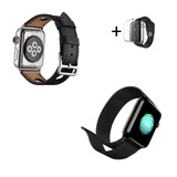 Kit Pulseira Apple Watch Hermes Rallye + Aço Milanesa + Case