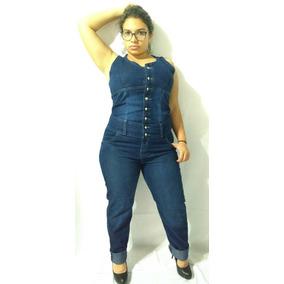 Jardineira Macacão Jeans Comprido Plus Size Com Lycra