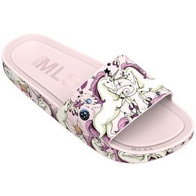 Melissa Beach Slide 3db Unicornio Rainbow Rosa Bege L301