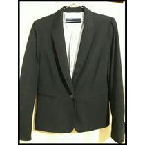 Blazer Negro De Algodón Zara Talle L/xl