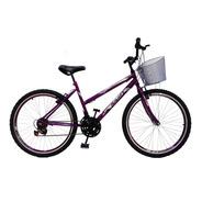 Bicicleta Feminina Aro 24 18 Marchas Com Cesta