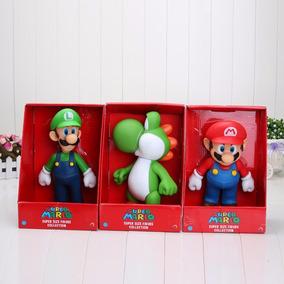 3 Bonecos Original Grande Super Mario Collection 22-23 Cm
