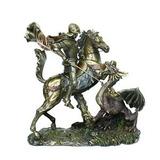 Estatua Cavaleiro São Jorge Guerreiro Lança E Dragão 26 Cm