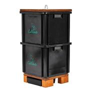 Compostera 2 Cajones Plástico Reciclado Negra (caba)