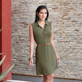 Vestido Botones Color Verde Para Dama