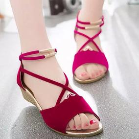 La Mujer Sandalia Con Cuña Con Abrir El Dedo Del Pie Zapato