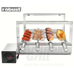 Churrasqueira Inox Gira Grill 4 Espetos Robust+grelha Girat