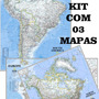 Kit C/ 03 Mapa Hd 70x90cm América Do Sul + Do Norte + Europa