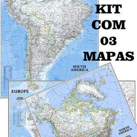Kit C/ 03 Mapa Hd 70x90cm América Do Sul + Do Norte + Europa
