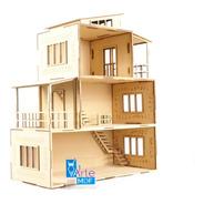 Casa De Muñecas Moderna + Kit De 32 Muebles Modernos En Mdf