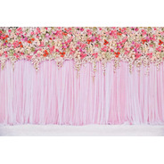 Painel De Festa Imita Cortina De Flores Com Fundo Rosa