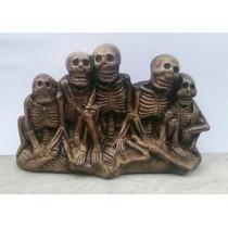 Caveiras Familia Halloween Cemiterio Amigos Estatua Gesso