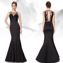 Vestido Ever Pretty Negro C/ Encaje Bordado Nuevo S/ Uso.