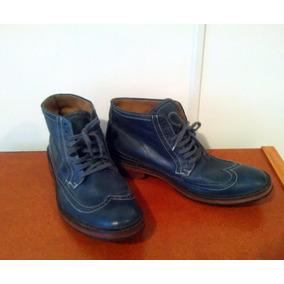 Zapatos De Cuero Azul Hombre