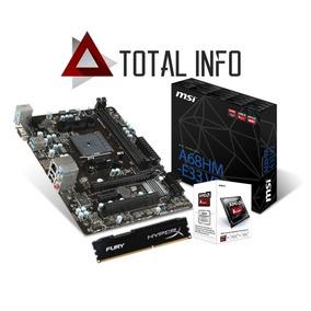 Kit Amd Gamer A4 7300 4,0ghz + A68hm-e33 V2 Msi + 4gb Hyperx