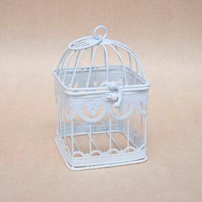 Jaula Deco Cuadrada Blanca Decorativa Shabby 18 X 10 Cm