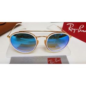6d95538e581f4 Óculos Sol Ray-ban Round Double Bridge Rb3647 Azul Degradê