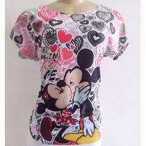 T-shirt Camiseta Blusa Feminina Mickey E Minnie Disney Kiss