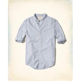 Hollister Camisa Cuello Mao Azul Con Rayitas Blancas