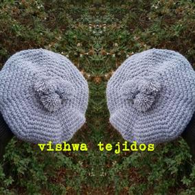 Boina Bebe Varon Invierno Crochet Pompones Tejido Gaucho