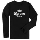 Camisa Camiseta Corona Extra Manga Longa Personalizada Logo 28c0c0b713d89