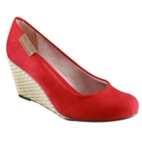 789b32cf4 Sapato Anabela Moleca Nobuck Vermelho - Sapatos no Mercado Livre Brasil