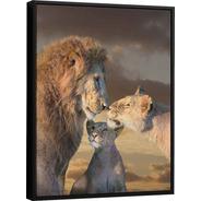 Quadro Leão Em Família | Médio 65x48cm | Com Moldura Preta