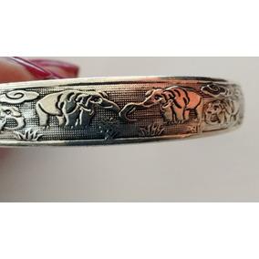 Pulseira Bracelete Elefante Indiano Prateado Tibetano Beagle