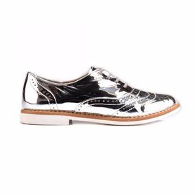 Zapatos Oxford Bostoneanos Niña Plata Espejo Charol 18-21