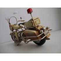 Réplica Miniatura, Moto Custom Antiga, Retrô Em Metal