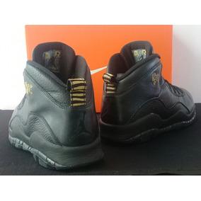Jordan X Black (27cm) Retro 10 Piel Flight Ny