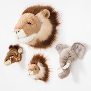 Kit Safari 4 Cabeças Parede Pelúcia Wild And Soft