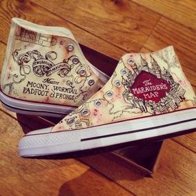 Converse Harry Potter Marauders Map Pintados A Mano