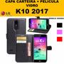 Capa Carteira Couro + Película Vidro M250ds Novo Lg K10 2017