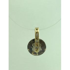 Pingente Cristal Fume Ouro 18k 3 Diamantes De 0,5 Ponto (ok) cf5e465f92