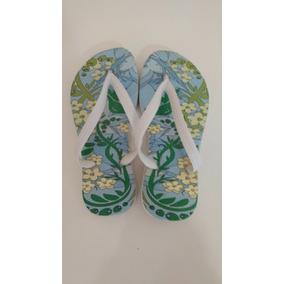 Chinelo Floral Blue / Lindo Chinelo Feminino Tiras Branca
