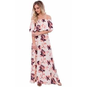 Maxi Vestido Largo Blanco Rosa Floreado Fresco Sin Hombros