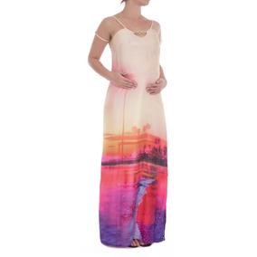 Vestido Gestante Longo Por Do Sol
