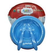 Kit Refeição Infantil 3 Pçs Prato Talheres Alimentação Bebê