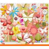 Kit Imprimible Pack Fondos Flores Y Mariposas 35 Clipart